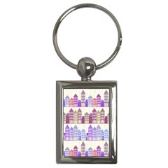 Houses City Pattern Key Chains (Rectangle)