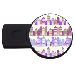 Houses City Pattern USB Flash Drive Round (1 GB)