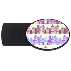 Houses City Pattern Usb Flash Drive Oval (2 Gb)