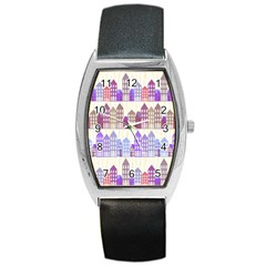 Houses City Pattern Barrel Style Metal Watch