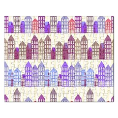 Houses City Pattern Rectangular Jigsaw Puzzl