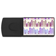 Houses City Pattern Usb Flash Drive Rectangular (4 Gb)