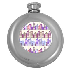 Houses City Pattern Round Hip Flask (5 oz)