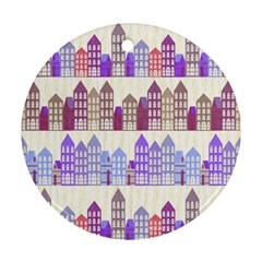Houses City Pattern Round Ornament (two Sides)