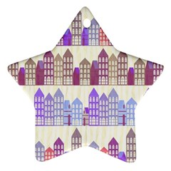 Houses City Pattern Star Ornament (Two Sides)