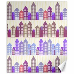 Houses City Pattern Canvas 8  X 10