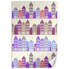 Houses City Pattern Canvas 12  x 18