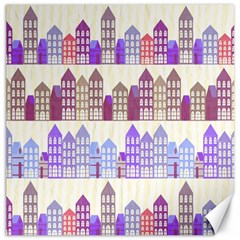 Houses City Pattern Canvas 16  X 16
