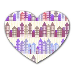 Houses City Pattern Heart Mousepads