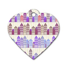 Houses City Pattern Dog Tag Heart (One Side)