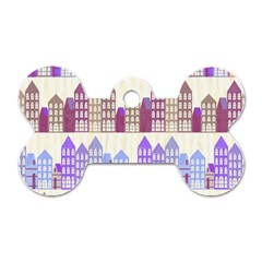 Houses City Pattern Dog Tag Bone (two Sides)