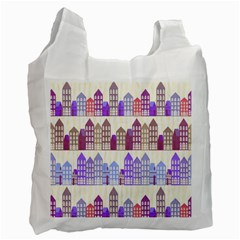 Houses City Pattern Recycle Bag (two Side)