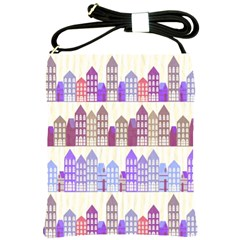 Houses City Pattern Shoulder Sling Bags