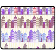 Houses City Pattern Fleece Blanket (medium)