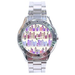 Houses City Pattern Stainless Steel Analogue Watch