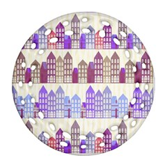 Houses City Pattern Round Filigree Ornament (Two Sides)