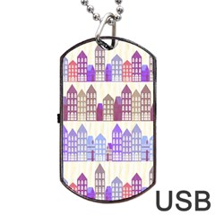 Houses City Pattern Dog Tag Usb Flash (one Side)