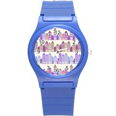 Houses City Pattern Round Plastic Sport Watch (S)