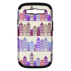 Houses City Pattern Samsung Galaxy S III Hardshell Case (PC+Silicone)