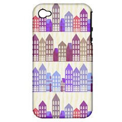 Houses City Pattern Apple iPhone 4/4S Hardshell Case (PC+Silicone)