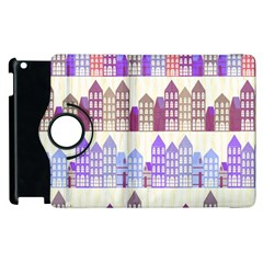 Houses City Pattern Apple Ipad 2 Flip 360 Case
