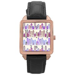 Houses City Pattern Rose Gold Leather Watch