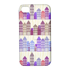 Houses City Pattern Apple Iphone 4/4s Hardshell Case With Stand