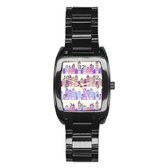 Houses City Pattern Stainless Steel Barrel Watch