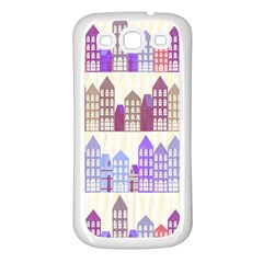 Houses City Pattern Samsung Galaxy S3 Back Case (White)