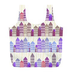 Houses City Pattern Full Print Recycle Bags (l)