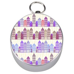 Houses City Pattern Silver Compasses
