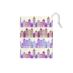 Houses City Pattern Drawstring Pouches (Small)