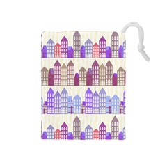 Houses City Pattern Drawstring Pouches (Medium)