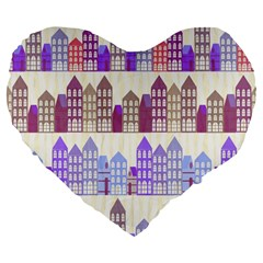 Houses City Pattern Large 19  Premium Flano Heart Shape Cushions