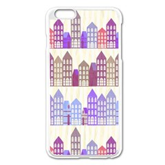Houses City Pattern Apple iPhone 6 Plus/6S Plus Enamel White Case