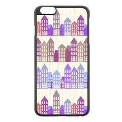 Houses City Pattern Apple iPhone 6 Plus/6S Plus Black Enamel Case