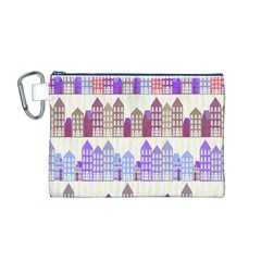 Houses City Pattern Canvas Cosmetic Bag (M)
