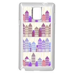 Houses City Pattern Samsung Galaxy Note 4 Case (White)