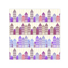Houses City Pattern Small Satin Scarf (Square)