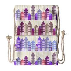 Houses City Pattern Drawstring Bag (Large)