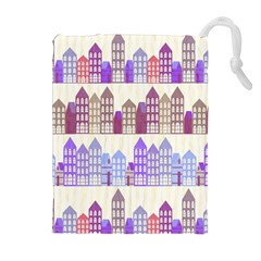Houses City Pattern Drawstring Pouches (Extra Large)