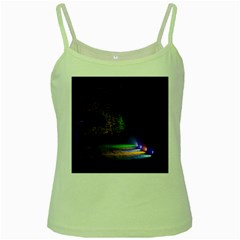 Illuminated Trees At Night Green Spaghetti Tank