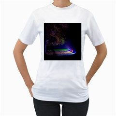 Illuminated Trees At Night Women s T Shirt (white) (two Sided)
