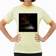 Illuminated Trees At Night Women s Fitted Ringer T-Shirts