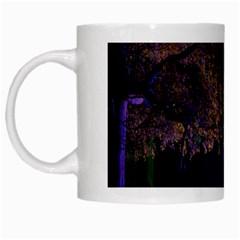 Illuminated Trees At Night White Mugs