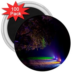 Illuminated Trees At Night 3  Magnets (100 pack)
