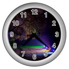 Illuminated Trees At Night Wall Clocks (silver)