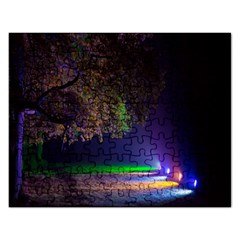 Illuminated Trees At Night Rectangular Jigsaw Puzzl