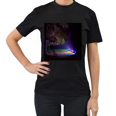 Illuminated Trees At Night Women s T Shirt (black) (two Sided)