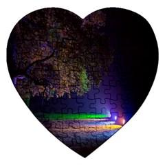 Illuminated Trees At Night Jigsaw Puzzle (Heart)